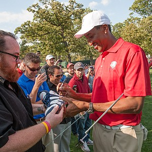 Basketball legend Scottie Pippen signs autographs during the Past Captains/Celebrity Scramble at Medinah Country Club.