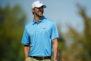 Olympic swimmer Michael Phelps during the 2012 Ryder Cup Captains/Celebrity Scramble at Medinah Country Golf Club on September 25, 2012 in Medinah, Illinois.