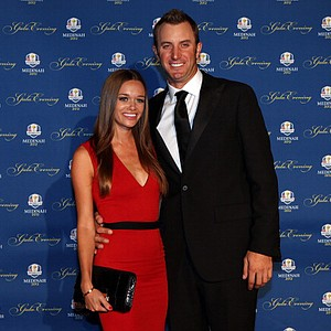 Dustin Johnson of the USA and his partner Amanda Cauder attend the 39th Ryder Cup Gala at Akoo Theatre at Rosemont on September 26, 2012 in Rosemont, Illinois.