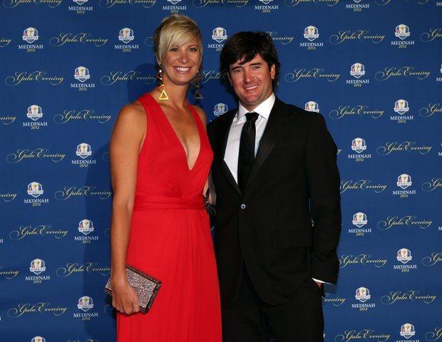 Bubba Watson of the USA and his wife Angie Watson attend the 39th Ryder Cup Gala at Akoo Theatre at Rosemont on September 26, 2012 in Rosemont, Illinois.