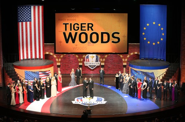 Tiger Woods of the USA tallks with Justin Timberlake during the 39th Ryder Cup gala at Akoo Theatre at Rosemont on September 26, 2012 in Rosemont, Illinois.