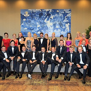 The European team players pose for a photograph with their wives and partners prior to the 39th Ryder Cup gala at Akoo Theatre at Rosemont on September 26, 2012.