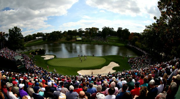 Fans watch the play on the 17th hole during the fourth preview day of The 39th Ryder Cup at Medinah Country Club on September 27, 2012 in Medinah, Illinois.