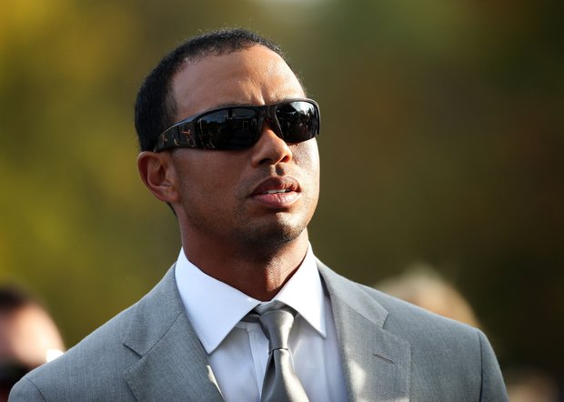 Tiger Woods during the opening ceremony at the Ryder Cup Thursday, Sept. 27, 2012, at the Medinah Country Club in Medinah, Ill.