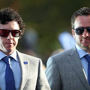 Rory McIlroy, left, and Graeme McDowell during the opening ceremony at the Ryder Cup Thursday, Sept. 27, 2012, at the Medinah Country Club in Medinah, Ill.