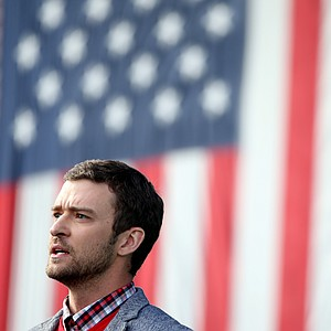 Justin Timberlake during the opening ceremony at the Ryder Cup Thursday, Sept. 27, 2012, at the Medinah Country Club in Medinah, Ill.