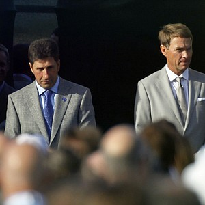 European team captain Jose Maria Olazabal, left, and USA's captain Davis Love III are introduced during the opening ceremony at the Ryder Cup Thursday, Sept. 27, 2012, at the Medinah Country Club in Medinah, Ill.