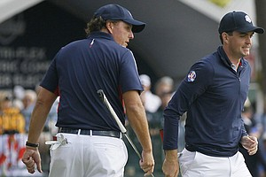 Phil Mickelson, left, and Keegan Bradley of Team USA during a practice round at the 2012 Ryder Cup Thursday at Medinah (Ill.) Country Club.