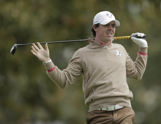Europe's Rory McIlroy watches his drive on the 15th hole during a practice round at the Ryder Cup Thursday, Sept. 27, 2012, at the Medinah Country Club in Medinah, Ill.