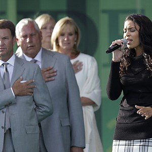 Jordin Sparks sings the national anthem during the opening ceremony at the Ryder Cup Thursday, Sept. 27, 2012, at the Medinah Country Club in Medinah, Ill.