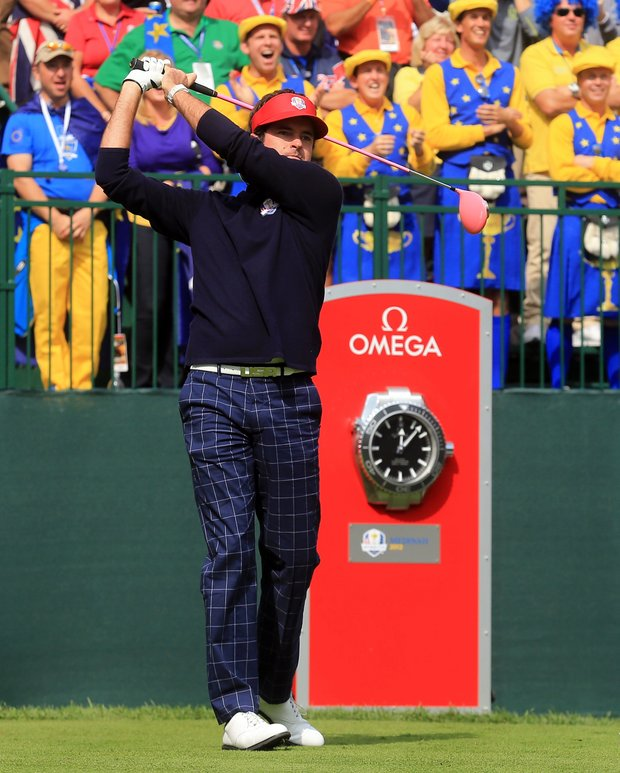 Bubba Watson of the USA watches his tee shot on the first hole during the afternoon four-ball matches.