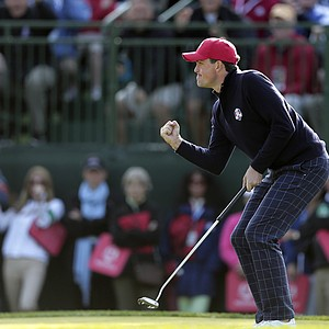 USA's Keegan Bradley reacts after making a birdie putt to win the ninth hole during a foursomes match at the Ryder Cup Friday, Sept. 28, 2012, at the Medinah Country Club in Medinah, Ill.