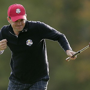 USA's Keegan Bradley reacts after making a putt to win the hole during a foursomes match at the Ryder Cup Friday, Sept. 28, 2012, at the Medinah Country Club in Medinah, Ill.