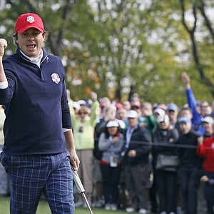 USA's Jason Dufner reacts after making an birdie putt to win the ninth hole during a foursomes match at the Ryder Cup Friday, Sept. 28, 2012, at the Medinah Country Club in Medinah, Ill.
