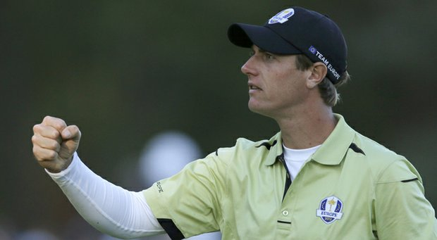Europe's Nicolas Colsaerts reacts after making a long birdie putt on the 17th hole during a four-ball match at the Ryder Cup PGA golf tournament Friday, Sept. 28, 2012, at the Medinah Country Club in Medinah, Ill.