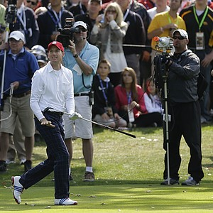 USA's Jim Furyk reacts to an approach shot on the 14th hole during a foursomes match at the Ryder Cup Friday, Sept. 28, 2012, at the Medinah Country Club in Medinah, Ill.