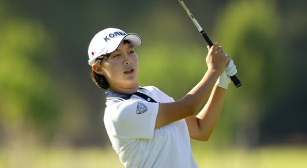 Hyo-Joo Kim of Republic of Korea, plays her second shot at the 16th hole at Gloria Golf Club Old Course during the first round of stroke play at the 2012 Espirito Santo Trophy at Gloria Golf Club in Antalya, Turkey on Thursday, Sept. 27, 2012.