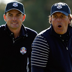 Keegan Bradley and Phil Mickelson celebrate during their foursomes match Saturday at the Ryder Cup.