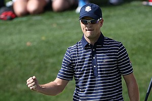 Zach Johnson of the USA celebrates on the 17th green during day two of the Morning Foursome Matches for The 39th Ryder Cup at Medinah Country Club on September 29, 2012.