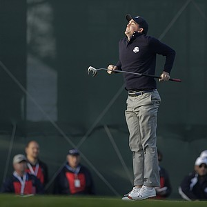 USA's Keegan Bradley reacts after missing a putt on the third hole during a foursomes match at the Ryder Cup PGA golf tournament Saturday, Sept. 29, 2012, at the Medinah Country Club in Medinah, Ill.