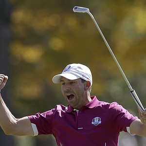 Europe's Sergio Garcia reacts after making a birdie putt on the fourth hole during a four-ball match at the Ryder Cup PGA golf tournament Saturday, Sept. 29, 2012, at the Medinah Country Club in Medinah, Ill.