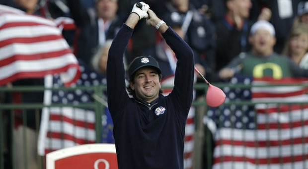 USA's Bubba Watson stretches on the first tee during a foursomes match at the Ryder Cup Saturday, Sept. 29, 2012, at the Medinah Country Club in Medinah, Ill.
