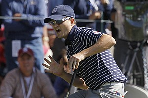 USA's Zach Johnson reacts after missing a birdie putt on the 13th hole during a foursomes match at the Ryder Cup PGA golf tournament Saturday, Sept. 29, 2012, at the Medinah Country Club in Medinah, Ill.