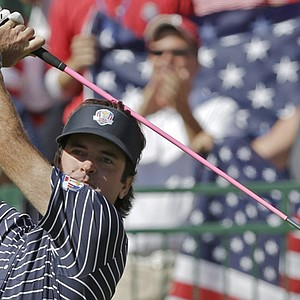 USA's Bubba Watson hits a drive on the first hole during a four-ball match at the Ryder Cup PGA golf tournament Saturday, Sept. 29, 2012, at the Medinah Country Club in Medinah, Ill.
