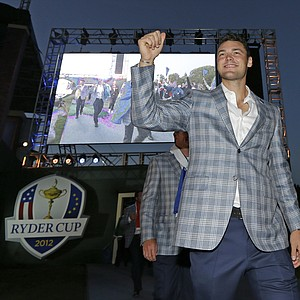 Europe's Martin Kaymer arrives at the closing ceremony for the Ryder Cup PGA golf tournament Sunday, Sept. 30, 2012, at the Medinah Country Club in Medinah, Ill.