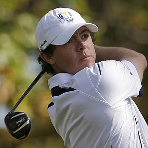 Europe's Rory McIlroy hits a drive during a singles match at the Ryder Cup PGA golf tournament Sunday, Sept. 30, 2012, at the Medinah Country Club in Medinah, Ill.