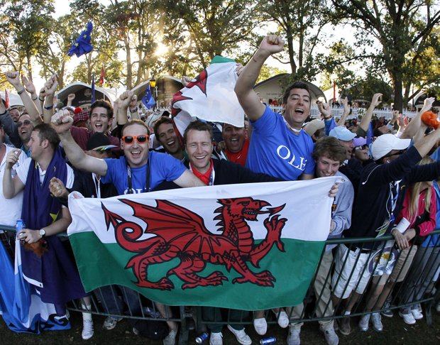 European fans celebrates after winning the Ryder Cup PGA golf tournament Sunday, Sept. 30, 2012, at the Medinah Country Club in Medinah, Ill.