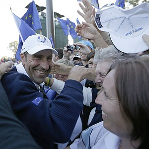 European team captain Jose Maria Olazabal celebrates after winning the Ryder Cup PGA golf tournament Sunday, Sept. 30, 2012, at the Medinah Country Club in Medinah, Ill.