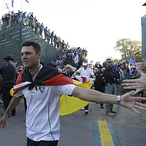 Europe's Martin Kaymer celebrates after winning the Ryder Cup PGA golf tournament Sunday, Sept. 30, 2012, at the Medinah Country Club in Medinah, Ill.