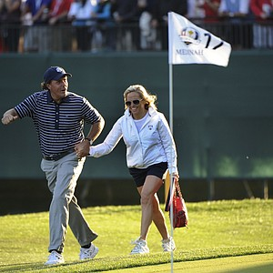 Phil Mickelson and his wife Amy on the 17th green The 39th Ryder Cup at Medinah Country Club, Illinois, America - 30 Sep 2012