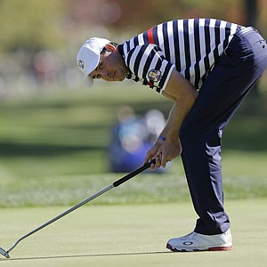 USA's Keegan Bradley reacts after missing a putt on the 16th hole during a singles match at the Ryder Cup PGA golf tournament Sunday, Sept. 30, 2012, at the Medinah Country Club in Medinah, Ill.