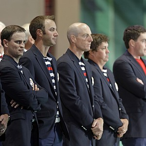 USA players arrive at the closing ceremony of the Ryder Cup PGA golf tournament Sunday, Sept. 30, 2012, at the Medinah Country Club in Medinah, Ill.