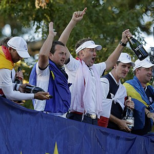 Europe's Sergio Garcia, left to right, Graeme McDowell, Ian Poulter, Justin Rose and Peter Hanson celebrate after winning the Ryder Cup PGA golf tournament Sunday, Sept. 30, 2012, at the Medinah Country Club in Medinah, Ill.