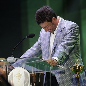European team captain Jose Maria Olazabal breaks down as he speaks at the closing ceremony at the Ryder Cup PGA golf tournament Sunday, Sept. 30, 2012, at the Medinah Country Club in Medinah, Ill.