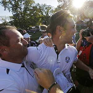 Europe's Martin Kaymer celebrates with Sergio Garcia after winning the Ryder Cup PGA golf tournament Sunday, Sept. 30, 2012, at the Medinah Country Club in Medinah, Ill.