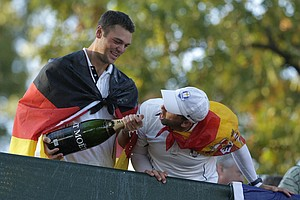 Europe's Martin Kaymer and Sergio Garcia celebrate after winning the Ryder Cup PGA golf tournament Sunday, Sept. 30, 2012, at the Medinah Country Club in Medinah, Ill.