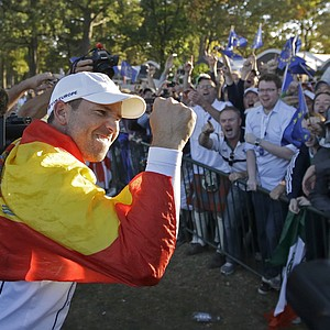 Europe's Sergio Garcia celebrates after winning the Ryder Cup PGA golf tournament Sunday, Sept. 30, 2012, at the Medinah Country Club in Medinah, Ill.