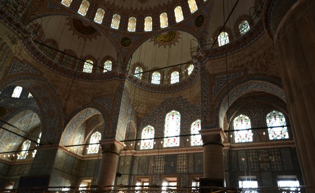 A look at the inside of the New Mosque in Istanbul, Turkey.