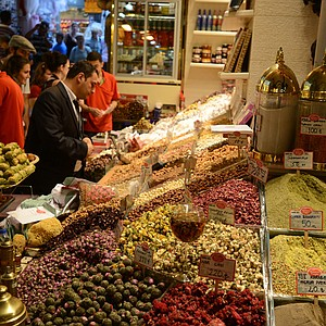 Inside the spice bazaar in Istanbul, Turkey. The spice bazaar was constructed in the mid-17th century as the market place of the New Mosque.  During its first years is was primarily occupied by the spice merchants of Egypt where it got its original name of Egyptian Bazaar.