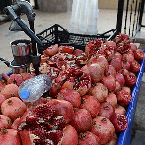 Pomegranate carts fill the streets of Istanbul, Turkey.