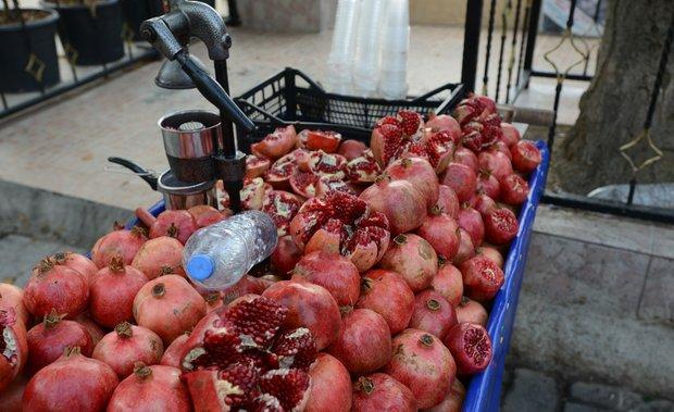 Pomegranate carts fill the streets of Istanbul, Turkey.