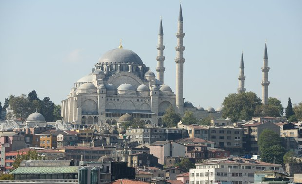 The Suleymaniye Mosque in Istanbul, Turkey. The mosque was built from 1550 to 1557 and is on top of a hill that overlooks the Golden Horn, a natural bay that divides the European side of Istanbul into two and separate peninsulas.