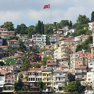 Typical coast line on the European side of the Bosphorus in Istanbul, Turkey.