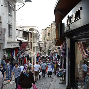 A typical street scene in Istanbul, Turkey.