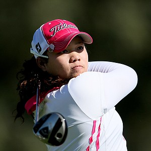 Ariya Jutanugarn watches her tee shot at No. 2 on Friday at the Kraft Nabisco Championship.