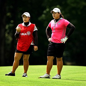 Ariya and Moriya Jutanugarn during the quarterfinals at the 112th U. S. Women's Amateur Championship in Cleveland.